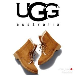 Ugg Quincy Leather & Sheepskin Lace Booties